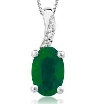 Oval Emerald Pendant with Diamond Accent White Gold