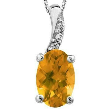 Oval Citrine Pendant with Diamond Accent 14KT Gold