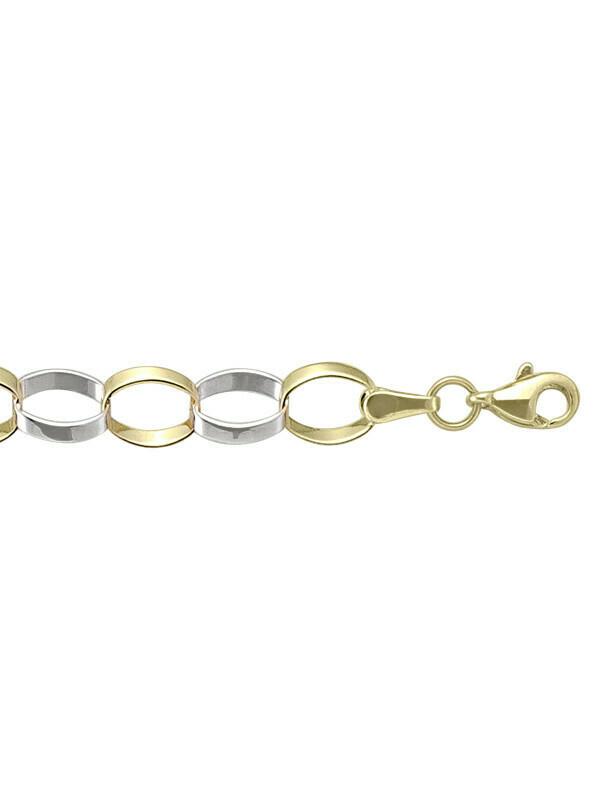 Yellow & White Gold Two Tone Fancy Hollow Link Bracelet 10KT