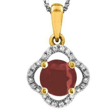 Clover Ruby Pendant with Diamond Frame Yellow Gold
