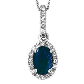 Oval Blue Sapphire Pendant with Diamond Frame White Gold