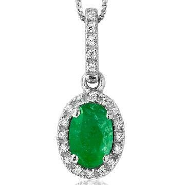 Oval Emerald Pendant with Diamond Frame White Gold