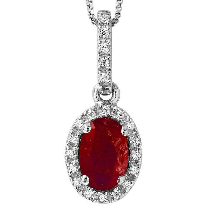 Oval Ruby Pendant with Diamond Frame 14KT Gold