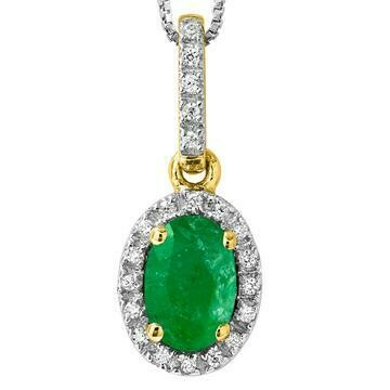 Oval Emerald Pendant with Diamond Frame Yellow Gold