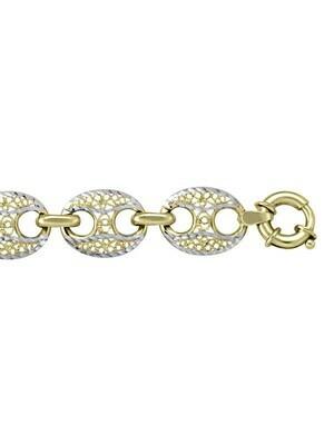 Yellow & White Gold Two Tone Fancy Link Bracelet 10KT