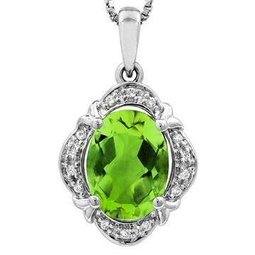 Vintage Inspired Oval Peridot Pendant with Diamond Frame 14KT Gold
