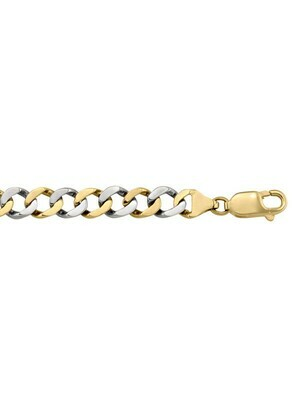 Yellow & White Gold Two Tone Solid Link Bracelet 10KT, 14KT & 8KT