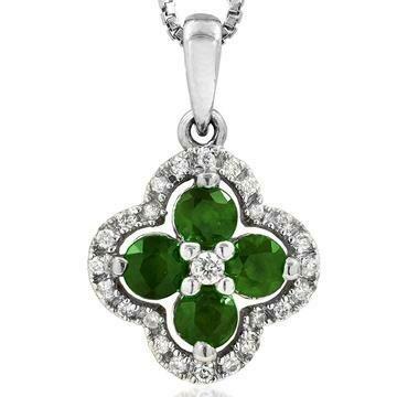 Clover Emerald Pendant with Diamond Frame White Gold