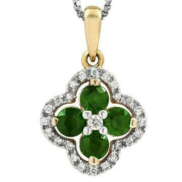 Clover Emerald Pendant with Diamond Frame Yellow Gold