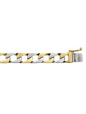 Yellow & White Gold Two Tone Solid Link Bracelet