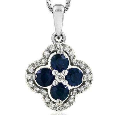 Clover Blue Sapphire Pendant with Diamond Frame White Gold