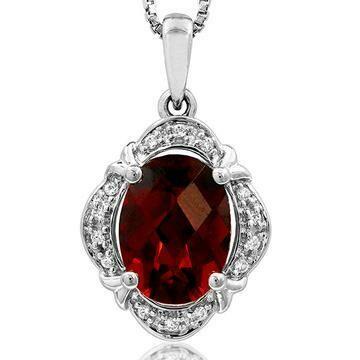 Vintage Inspired Oval Garnet Pendant with Diamond Frame 14KT Gold