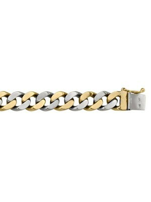 Yellow & White Gold Two Tone Solid Link Bracelet 10KT, 14KT & 18KT