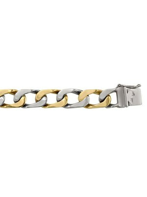 Yellow & White Gold Two Tone Gold Solid Link Bracelet 10KT, 14KT & 18KT