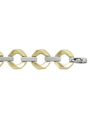 Yellow & White Gold Two Tone Hollow Fancy Bracelet 14KT