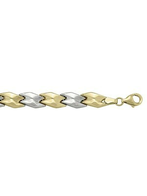 Yellow & Whote Gold Two Tone Hollow Fancy Bracelet 14KT