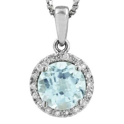 Aquamarine Pendant with Diamond Frame White Gold