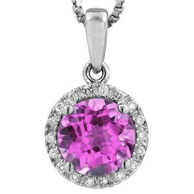 Pink Topaz Pendant with Diamond Frame White Gold