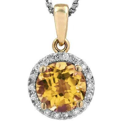 Citrine Pendant with Diamond Frame Yellow Gold