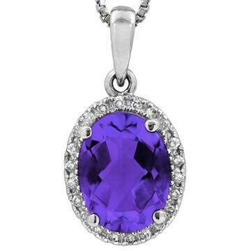 Oval Amethyst Pendant with Diamond Frame White Gold