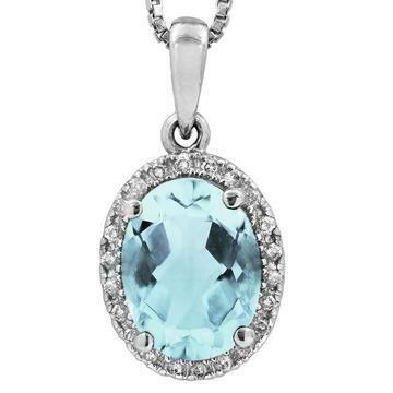 Oval Aquamarine Pendant with Diamond Frame White Gold
