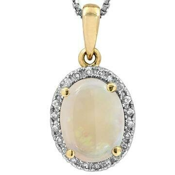 Oval Opal Pendant with Diamond Frame Yellow Gold