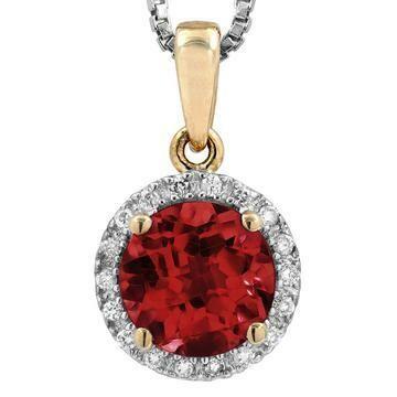Garnet Pendant with Diamond Frame Yellow Gold