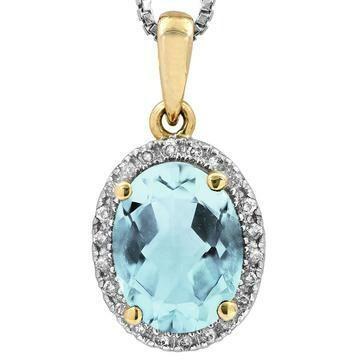 Oval Aquamarine Pendant with Diamond Frame Yellow Gold