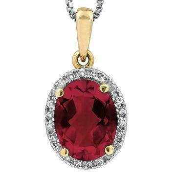 Oval Garnet Pendant with Diamond Frame Yellow Gold