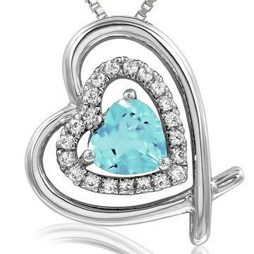 Tilted Double Heart Color Aquamarine Pendant with Diamond Accent White Gold