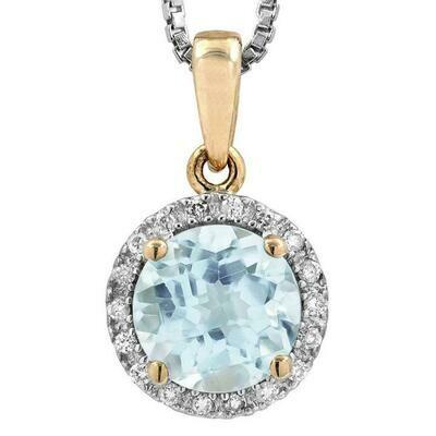Aquamarine Pendant with Diamond Frame Yellow Gold