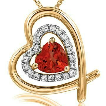 Tilted Double Heart Color Ruby Pendant with Diamond Accent 14KT Yellow Gold