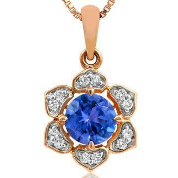Floral Tanzanite Pendant with Diamond Frame Rose Gold