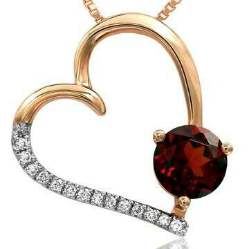 Garnet Tilted Heart Pendant with Diamond Accent Rose Gold