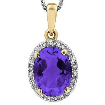 Oval Amethyst Pendant with Diamond Frame Yellow Gold