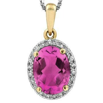 Oval Pink Topaz Pendant with Diamond Frame Yellow Gold
