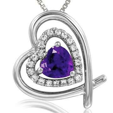 Tilted Double Heart Color Amethyst Pendant with Diamond Accent White Gold