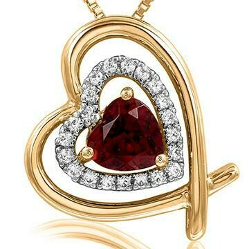 Tilted Double Heart Color Garnet Pendant with Diamond Accent 14KT Yellow Gold