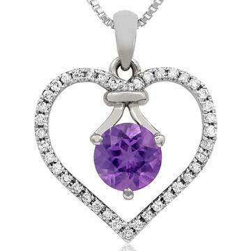 Amethyst Heart Pendant with Diamond Frame White Gold