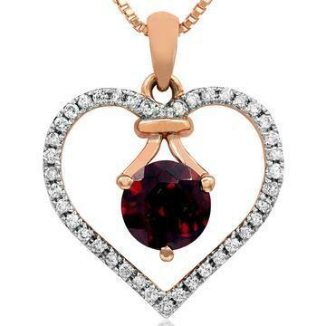 Garnet Heart Pendant with Diamond Frame 14KT Gold