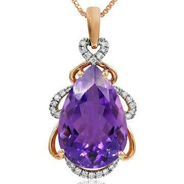 Premium Pear Amethyst Pendant with Diamond Accent Rose Gold