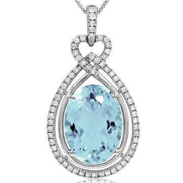 Premium Oval Teardrop Aquamarine Pendant with Diamond Frame White Gold