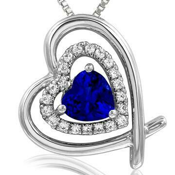 Tilted Double Heart Color Blue Sapphire Pendant with Diamond Accent White Gold