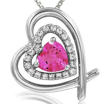 Tilted Double Heart Color Pink Topaz Pendant with Diamond Accent White Gold