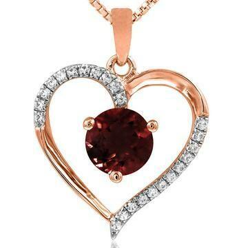 Garnet Heart Pendant with Diamond Accent 14KT Gold