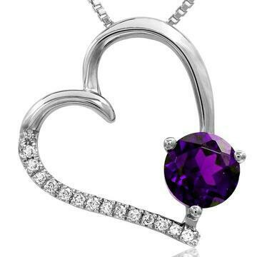 Amethyst Tilted Heart Pendant with Diamond Accent White Gold