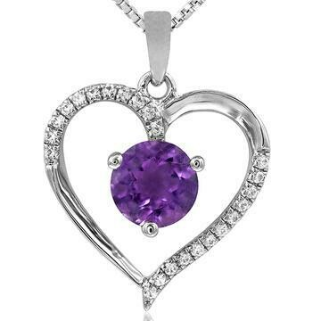 Amethyst Heart Pendant with Diamond Accent White Gold