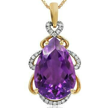 Premium Pear Amethyst Pendant with Diamond Accent Yellow Gold