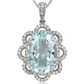 Premium Oval Floral Aquamarine Pendant with Diamond Frame White Gold