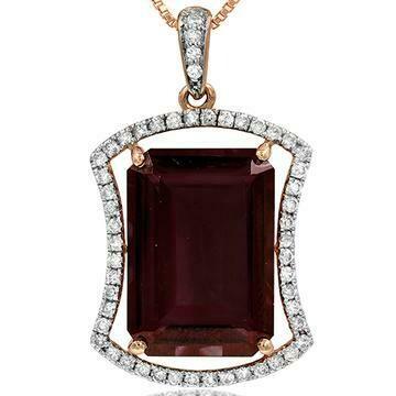 Premium Emerald Cut Garnet Pendant with Diamond Frame Rose Gold